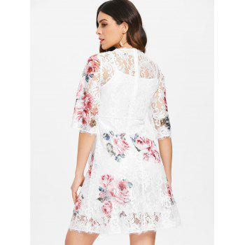 Lace Floral Print Dress and Camisole - WHITE S