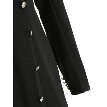 Double Breasted Long Sleeve Dress - BLACK L