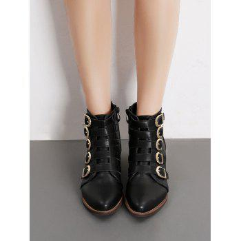 Pointed Toe Buckle Strap Short Boots - BLACK EU 37
