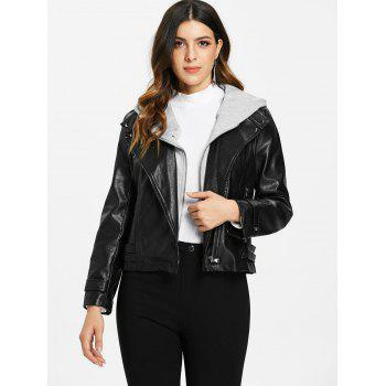 Detachable Hooded PU Leather Jacket - BLACK L