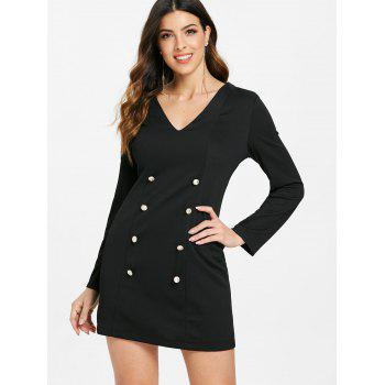 Double Breasted Long Sleeve Dress - BLACK M