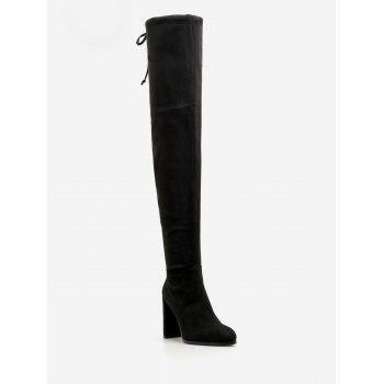 "<P>Chunky Heel Suede Drawstring Thigh High Boots</P><I Class=""Icon Down Js Tap Up Down""></I> by Dress Lily"