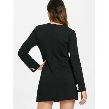 Double Breasted Long Sleeve Dress - BLACK S