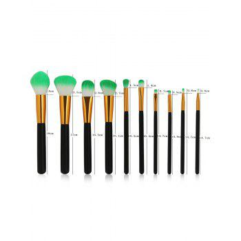 10Pcs Super Soft Silky Foundation Powder Blush Eyeshadow Brush Set - BLACK