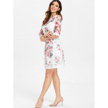 Lace Floral Print Dress and Camisole - WHITE XL