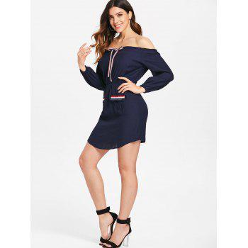 Striped Tie Collar Long Sleeve Short Dress - CADETBLUE L