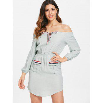 Striped Tie Collar Long Sleeve Short Dress - BABY BLUE L