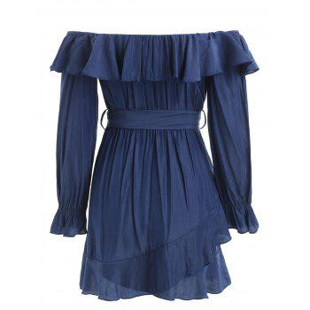 Ruffles Trim Long Sleeve Belted Dress - DEEP BLUE S