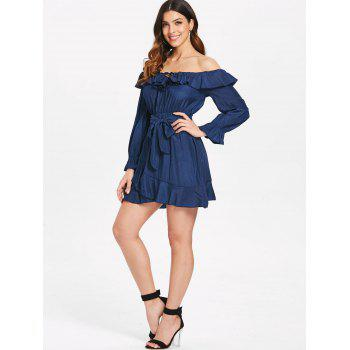 Ruffles Trim Long Sleeve Belted Dress - DEEP BLUE M