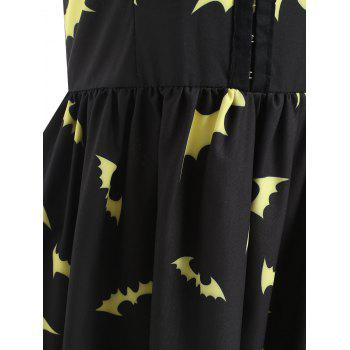 Halloween Bats Print Half Buckles Dress - BLACK S