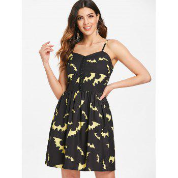 Halloween Bats Print Half Buckles Dress - BLACK M