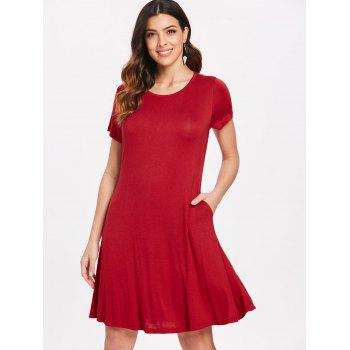 Short Sleeve T-shirt Swing Dress - RED XL