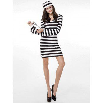 Stripe Prison Uniform Halloween Couples Set - BLACK MOM  ONE SIZE