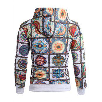 Flower Plaid Pattern Drawstring Hoodie - multicolor 2XL