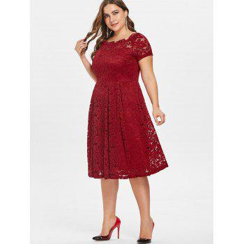 Plus Size Short Sleeve Lace A Line Dress - RED 5X
