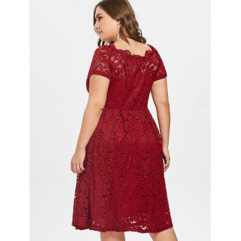 Plus Size Short Sleeve Lace A Line Dress - RED 4X