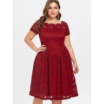 Plus Size Short Sleeve Lace A Line Dress - RED 2X