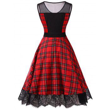 Vintage Mesh Insert Plaid Pin Up Dress - FIRE ENGINE RED M