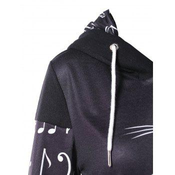 Front Pocket Musical Notes Print Pullover Hoodie - multicolor 2XL
