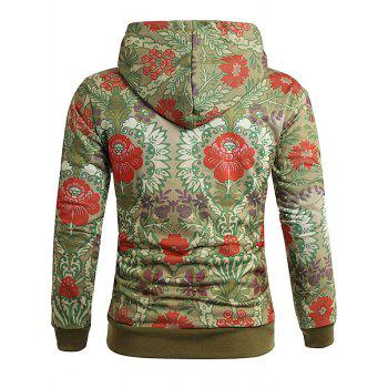 Ethnic Style Flower Printed Pullover Hoodie - multicolor L
