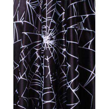 Plus Size Ruched Spider Web Halloween Vintage Dress - BLACK 1X