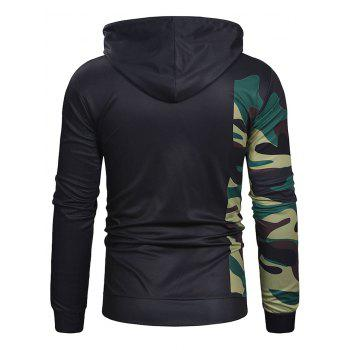 Camouflage Sleeve Letter Print Pullover Hoodie - BLACK M