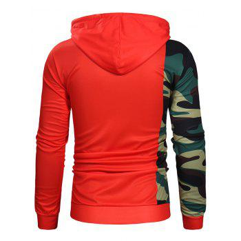 Camouflage Sleeve Letter Print Pullover Hoodie - RED M