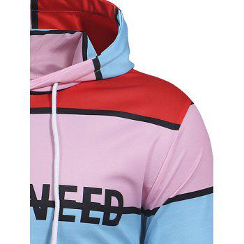 Letter Stripe Casual Pullover Hoodie - multicolor M
