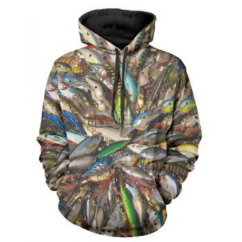 Allover Fish Print Pullover Hoodie