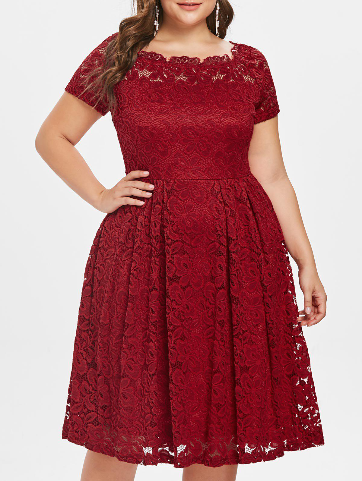Plus Size Short Sleeve Lace A Line Dress - RED 3X