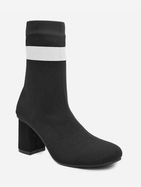 High Heel Striped Sock Short Boots - BLACK EU 34