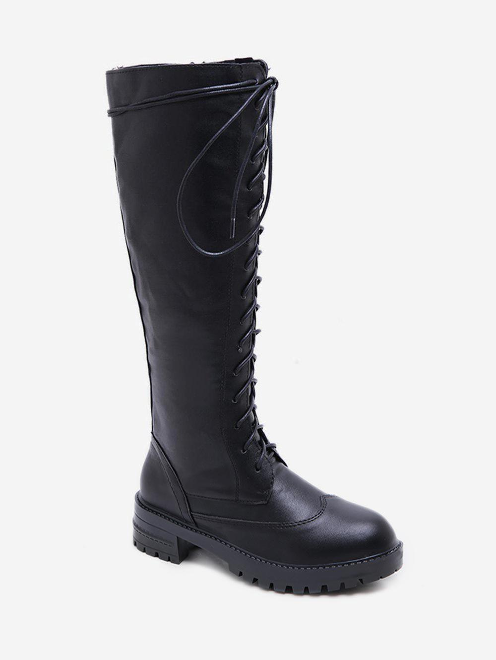 PU Leather Platform Knee High Boots - BLACK EU 36