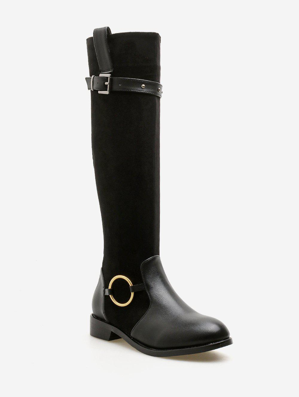 Chunky Heel Buckle Strap Knee High Boots - BLACK EU 39
