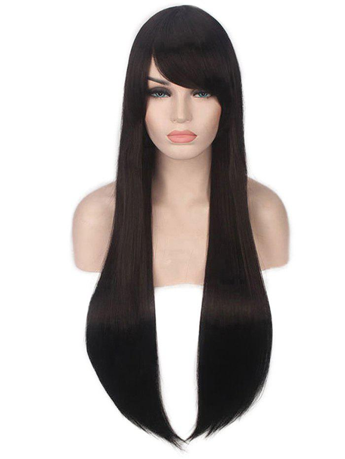 Long Inclined Fringe Straight Capless Synthetic Wig - BLACK