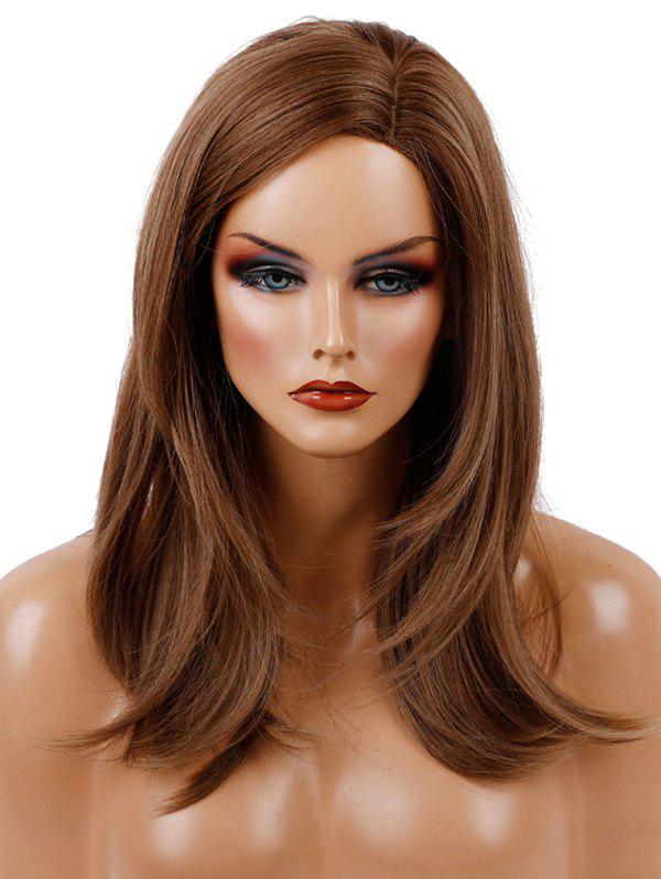 Long Capless Side Parting Natural Straight Synthetic Wig - BROWN BEAR