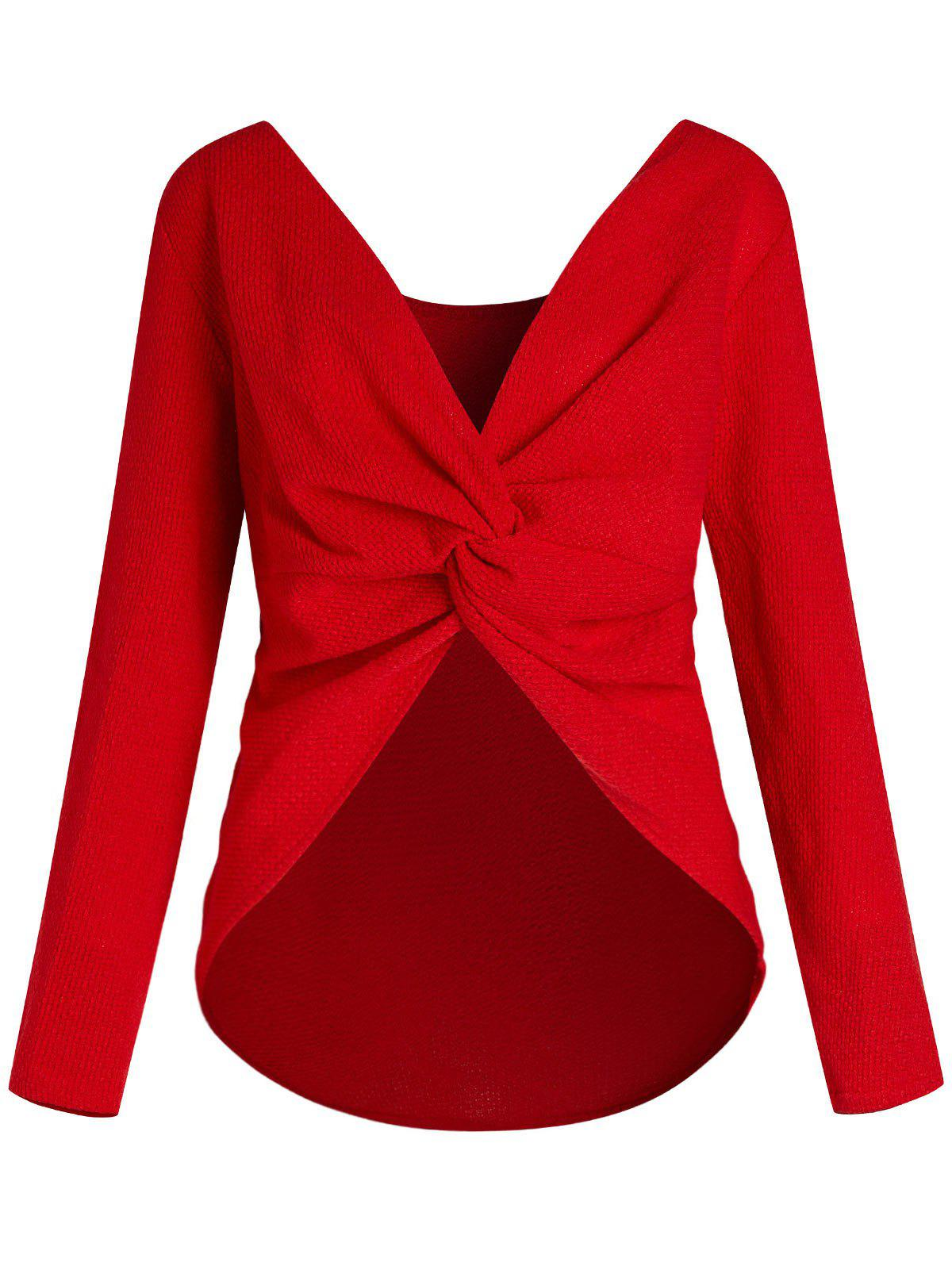 Plus Size Long Sleeve Back Twist Sweater - RED 4X