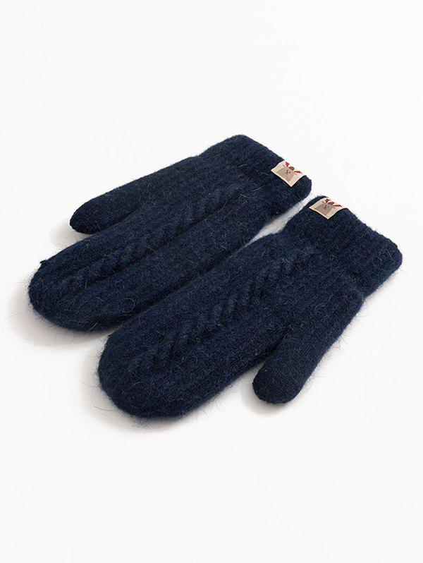 Winter Label Crochet Knitted Mitten Gloves - CADETBLUE