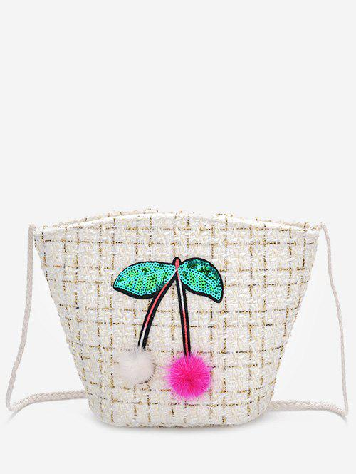 Going Out Cherry Pattern Bucket Bag - WHITE