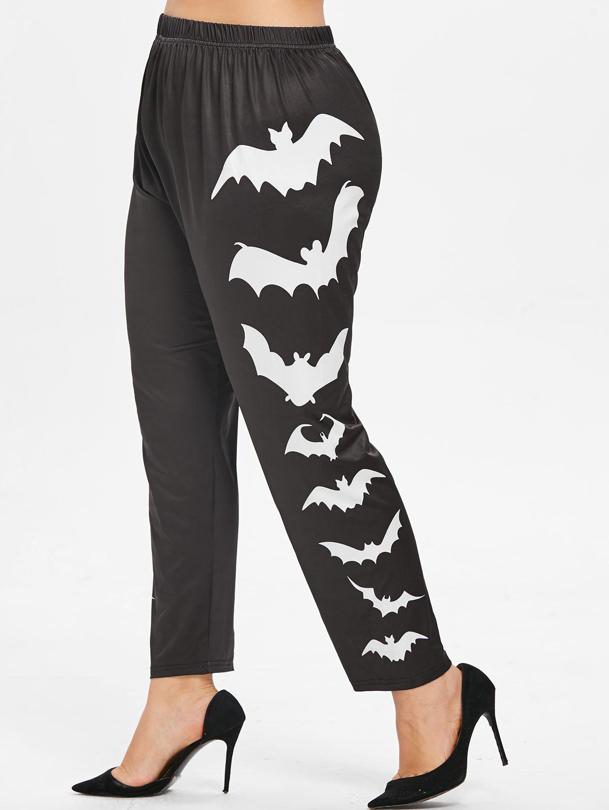 Plus Size Side Bat Pattern Elastic Waist Halloween Leggings - WHITE 3X