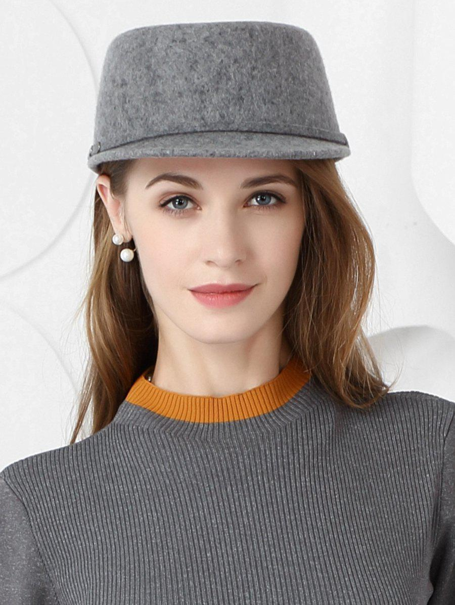 Elegant Solid Color Wool Baseball Cap - BATTLESHIP GRAY