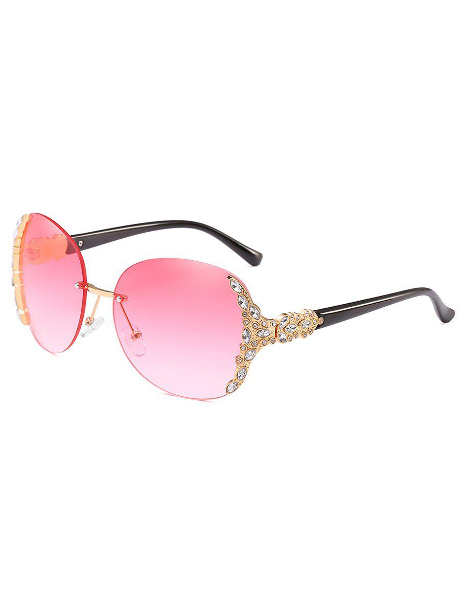 Elegant Rhinestone Inlaid Rimless Sunglasses - LIGHT PINK