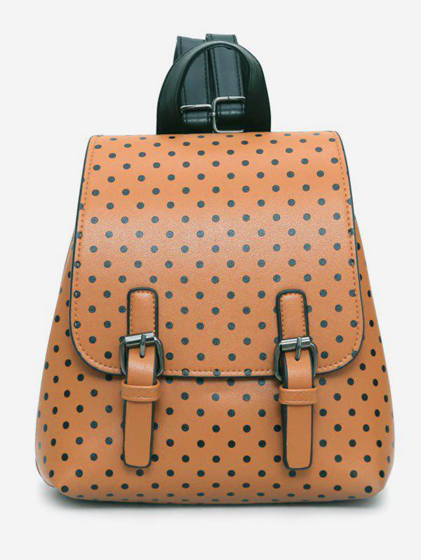 Polka Dot Buckle Design Travel Backpack - BROWN