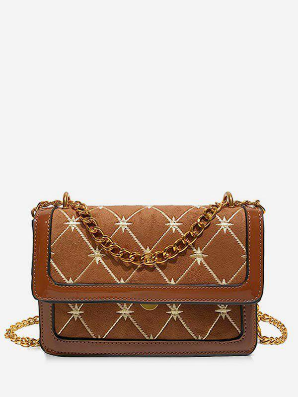 Geometric Pattern Going Out Crossbody Bag - BROWN