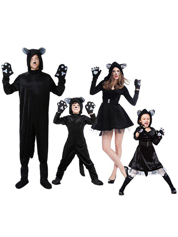 Parent Child Halloween Dog Costume Set - BLACK MOM-M