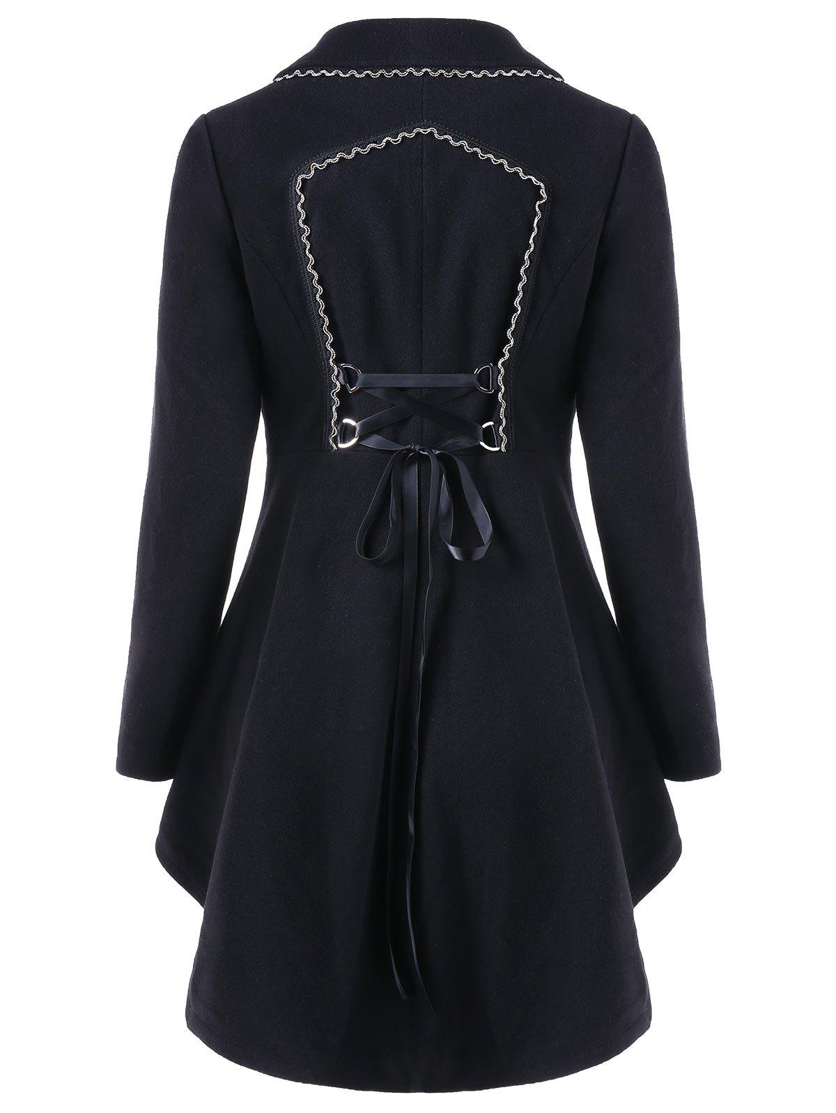 Asymmetric Longline Coat with Lace Up - BLACK XL