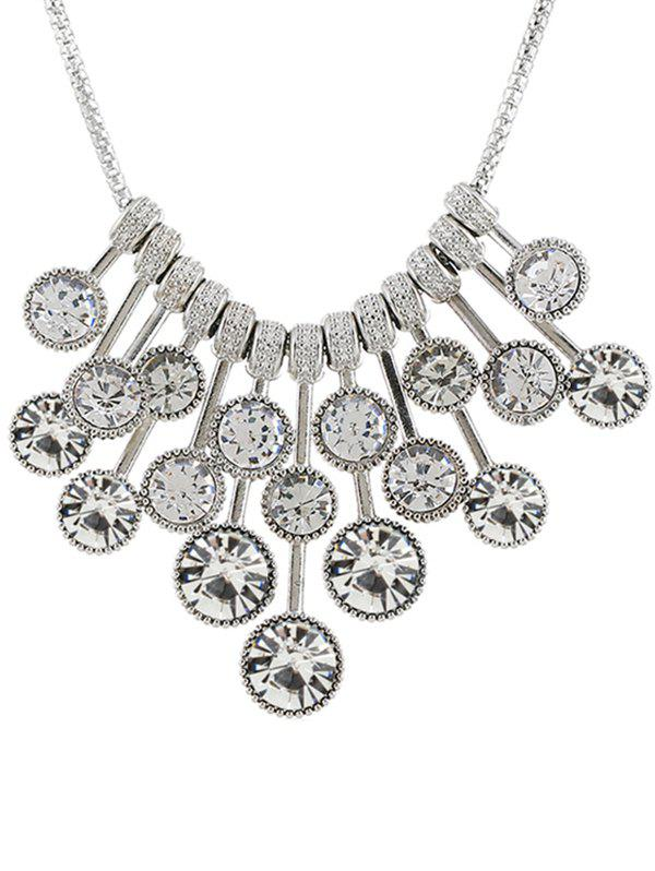 Round Rhinestone Inlaid Bohemian Necklace - WHITE