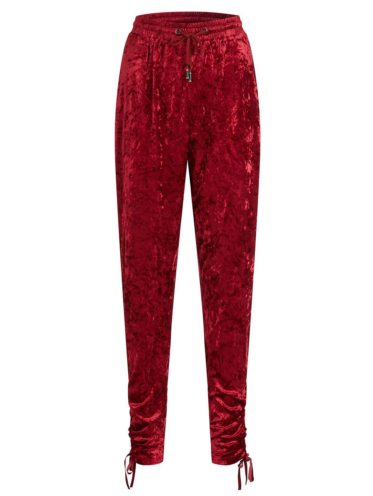 Crushed Velvet Plus Size Joggers Pants - RED 4X