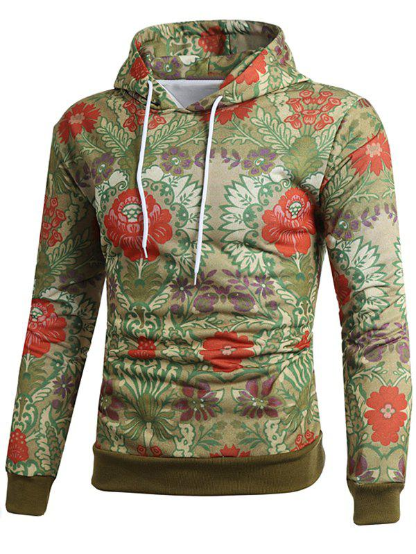 Sweat à Capuche Pull-over Style Ethnique Fleur Imprimée - multicolor M