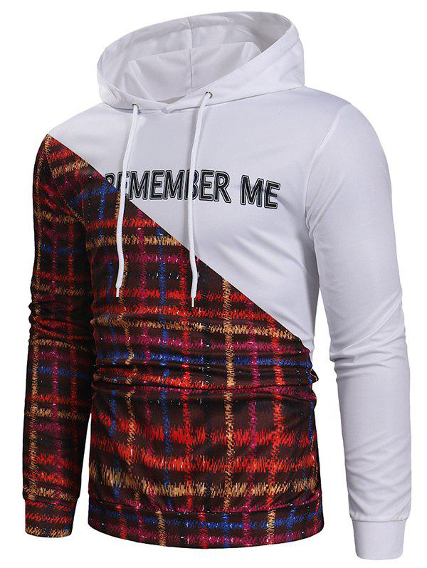 Letter Plaid Patchwork Drawstring Hoodie - WHITE 3XL