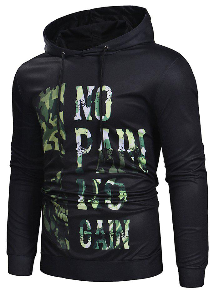 Camo Leter Print Pullover Hoodie - BLACK 3XL